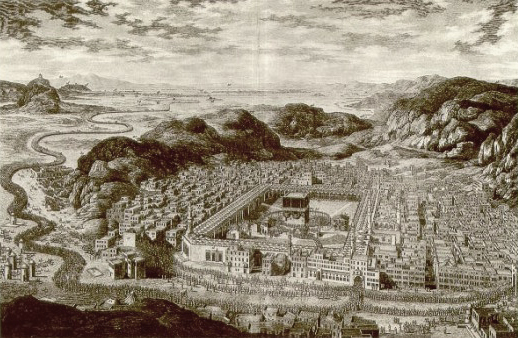 1850 sketch of kaaba and surroundings